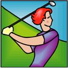 woman golfer - golf swing